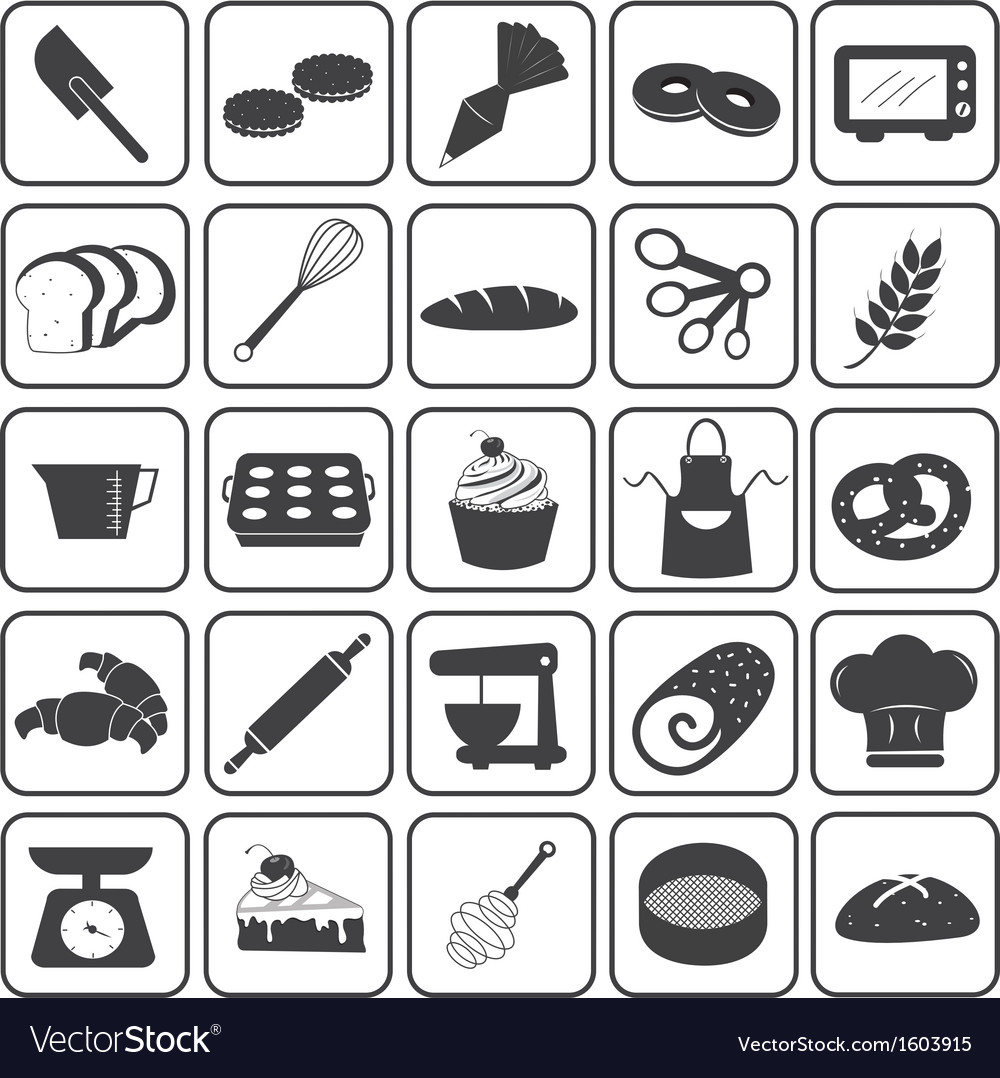 Basic bakery icons set vector | Price: 1 Credit (USD $1)