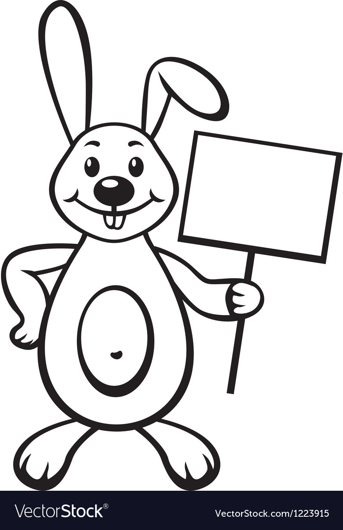 Bunny with sign vector | Price: 1 Credit (USD $1)