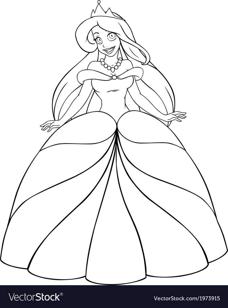 Caucasian princess coloring page vector | Price: 1 Credit (USD $1)