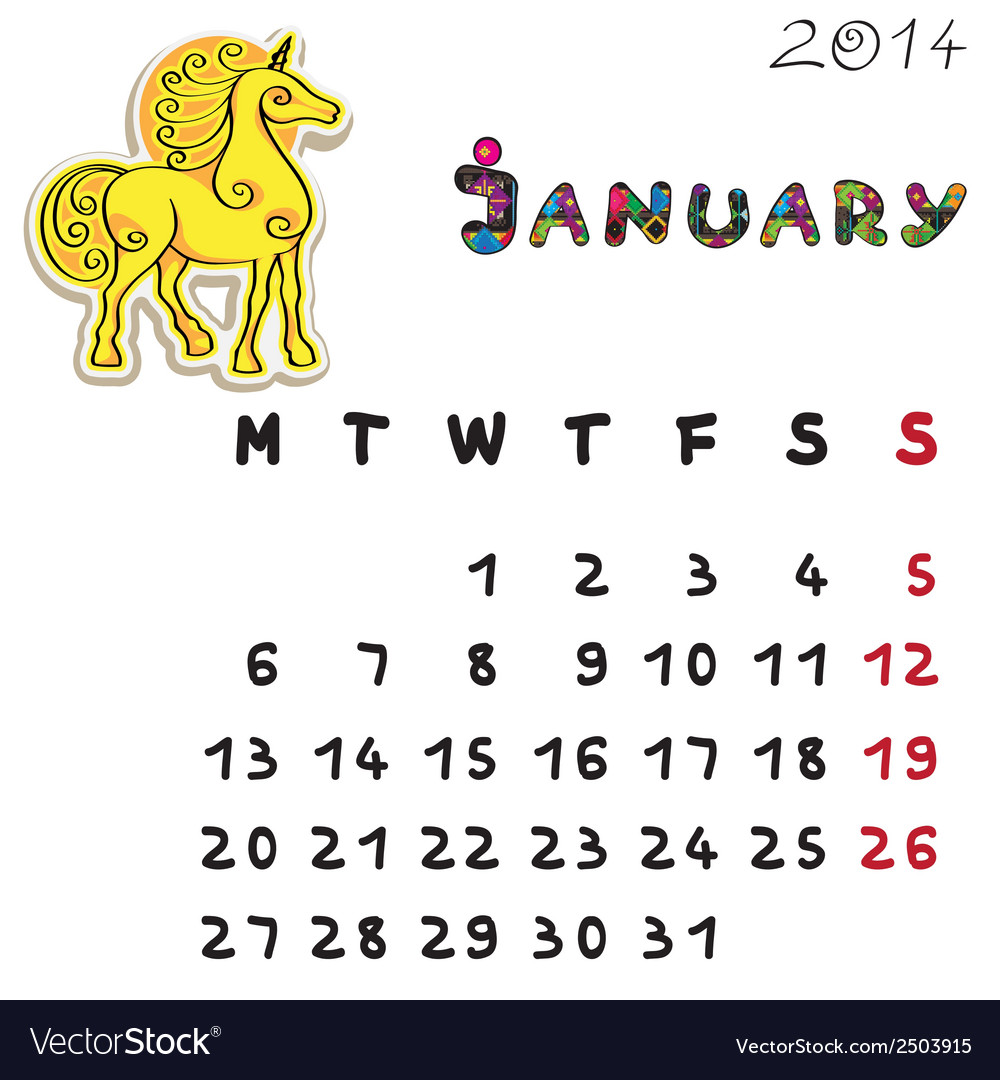 Color horse calendar 2014 january vector | Price: 1 Credit (USD $1)