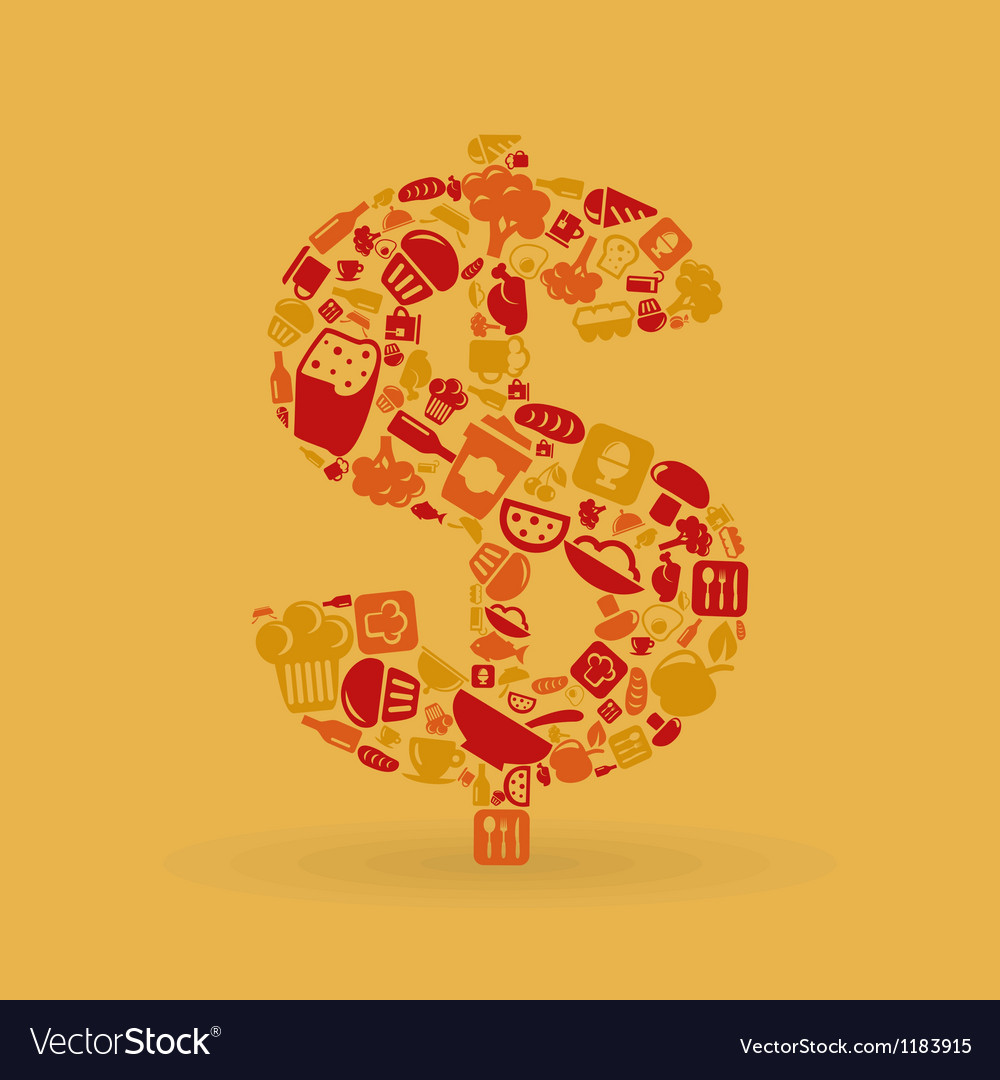 Food dollar vector | Price: 1 Credit (USD $1)