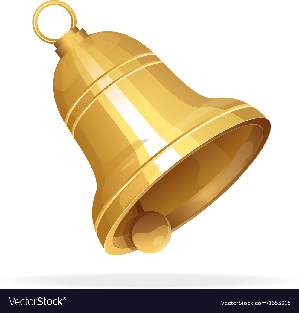 Golden christmas bell on white background vector | Price: 1 Credit (USD $1)