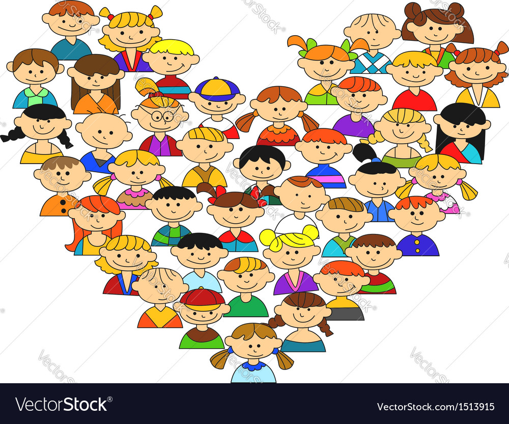 Love heart with childrens vector | Price: 1 Credit (USD $1)