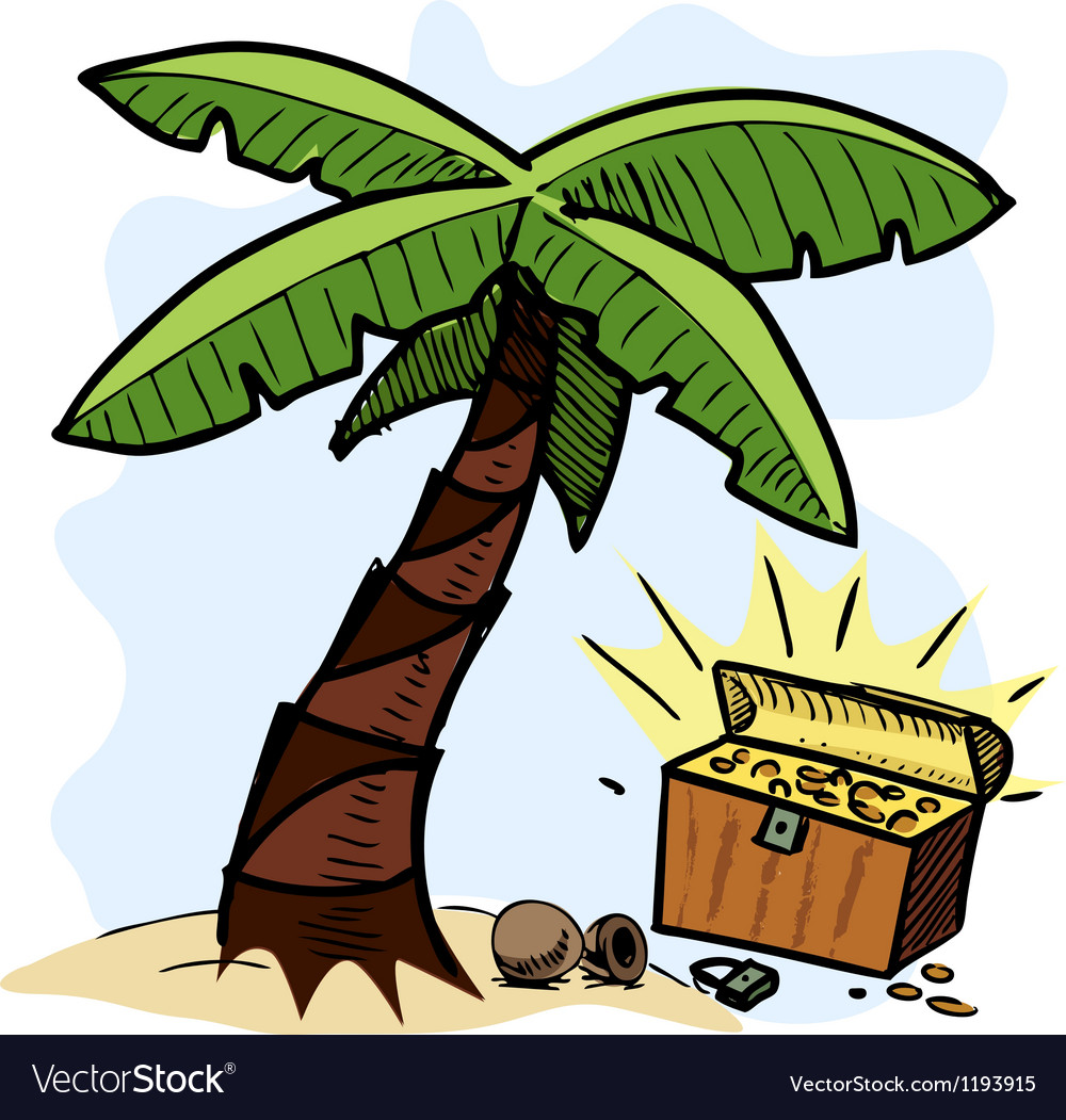Palm tree and pirate chest on the seashore vector | Price: 1 Credit (USD $1)