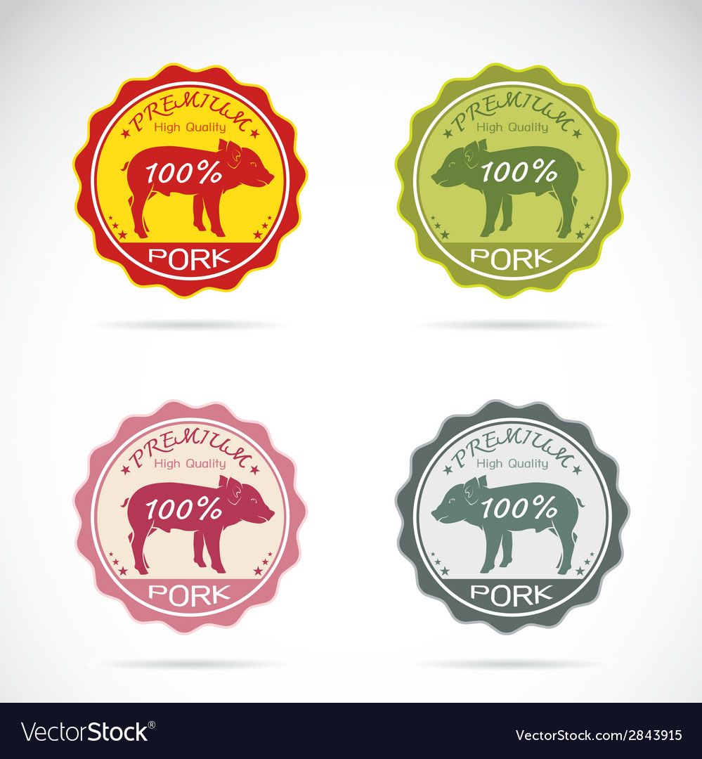 Set of pig label vector | Price: 1 Credit (USD $1)