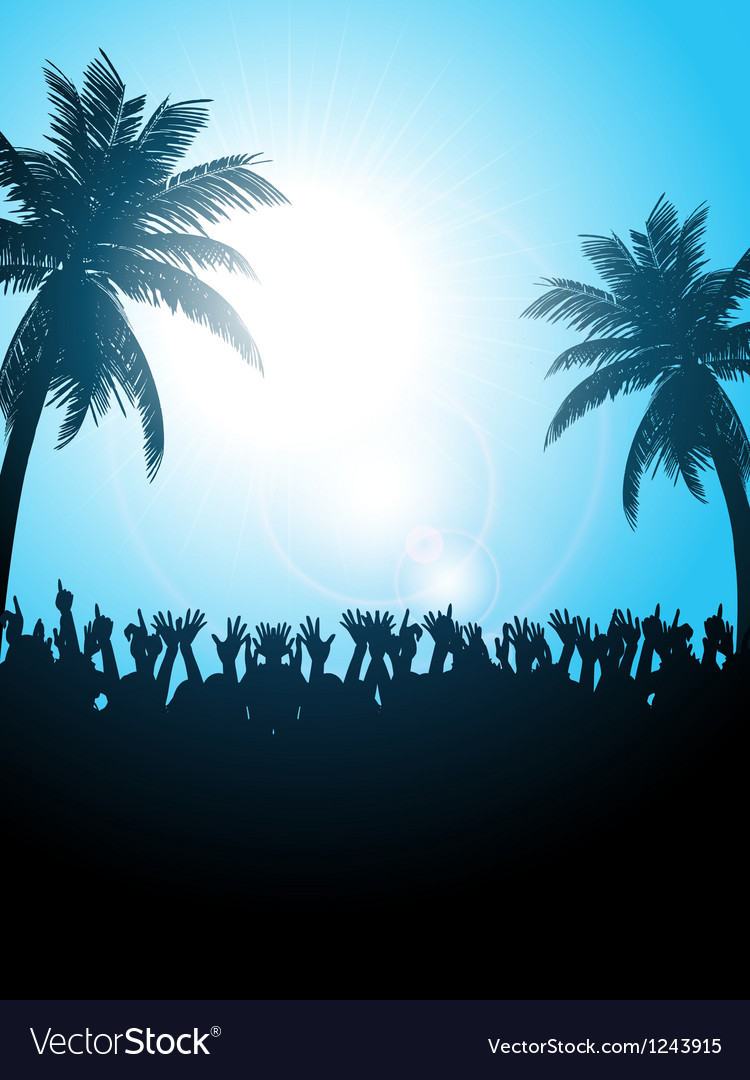 Summer festival with palm trees vector | Price: 1 Credit (USD $1)
