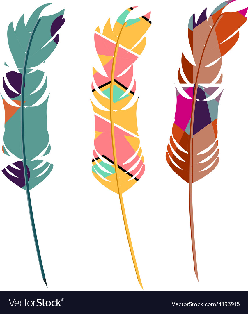 Three color feathers vector | Price: 1 Credit (USD $1)