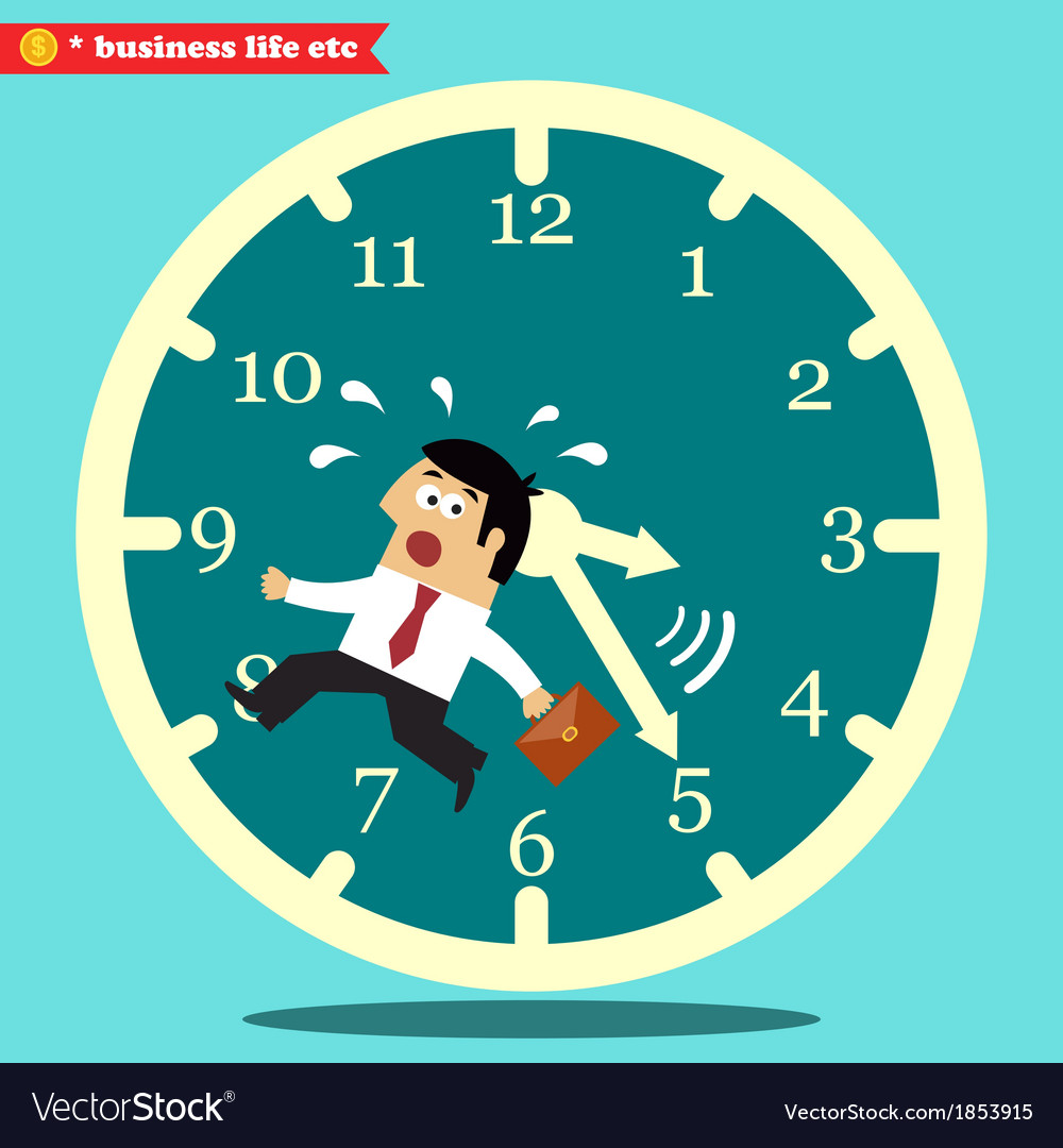 Worried executive running against the time vector | Price: 1 Credit (USD $1)