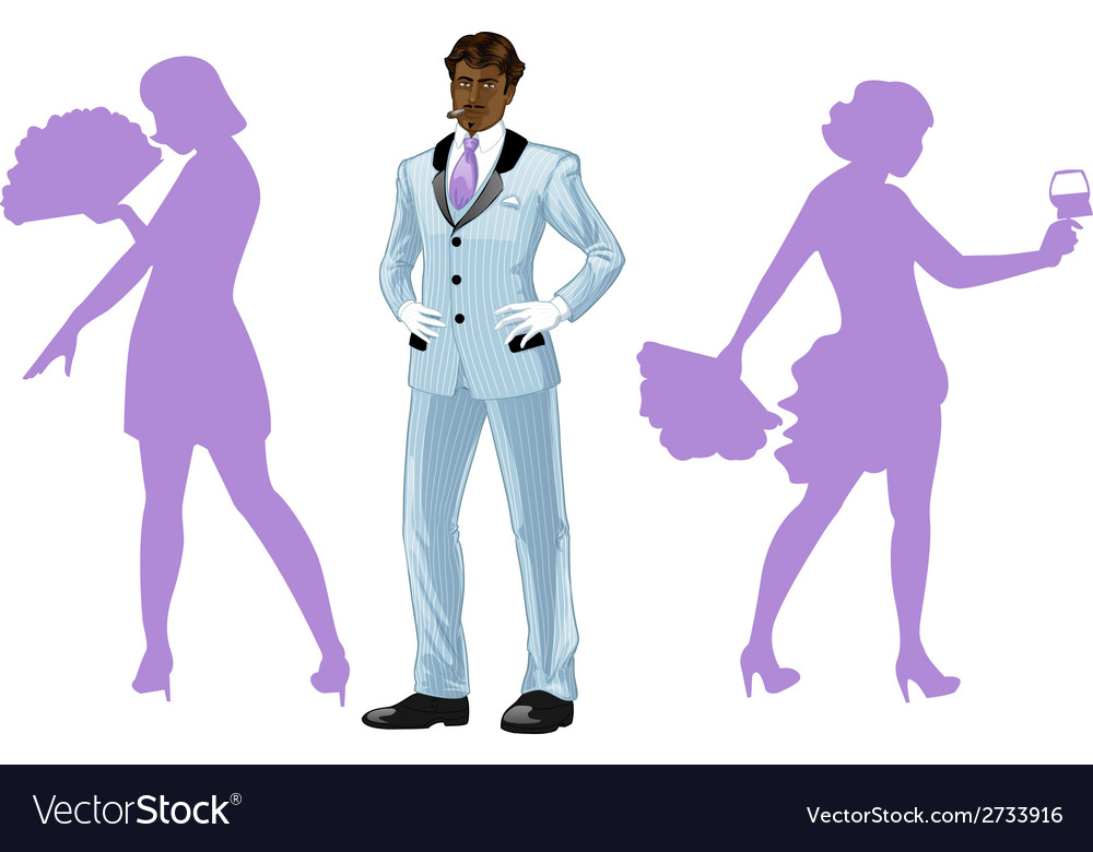 Attractive afroamerican man with corps de ballet vector | Price: 1 Credit (USD $1)