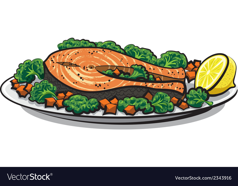 Baked salmon vector | Price: 1 Credit (USD $1)