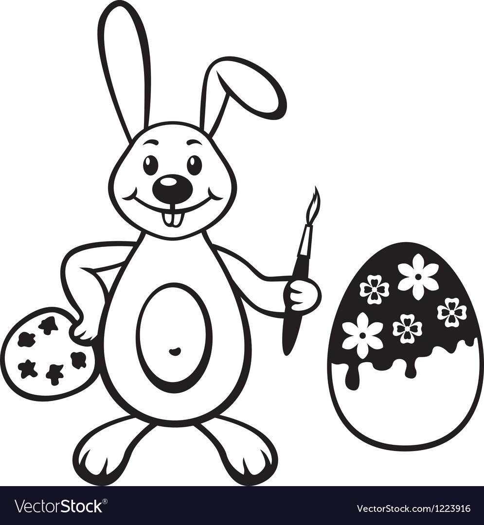 Bunny with painbrush vector | Price: 1 Credit (USD $1)