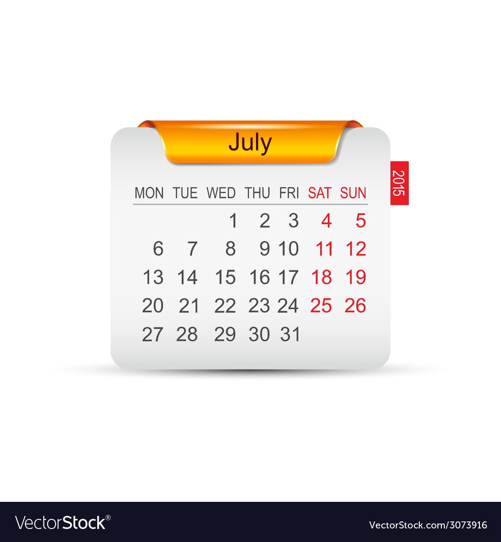 Calendar july 2015 vector | Price: 1 Credit (USD $1)
