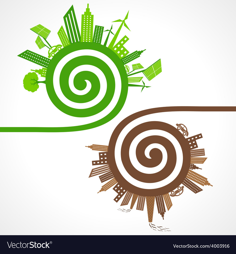 Ecology concept with eco and polluted cities vector | Price: 1 Credit (USD $1)