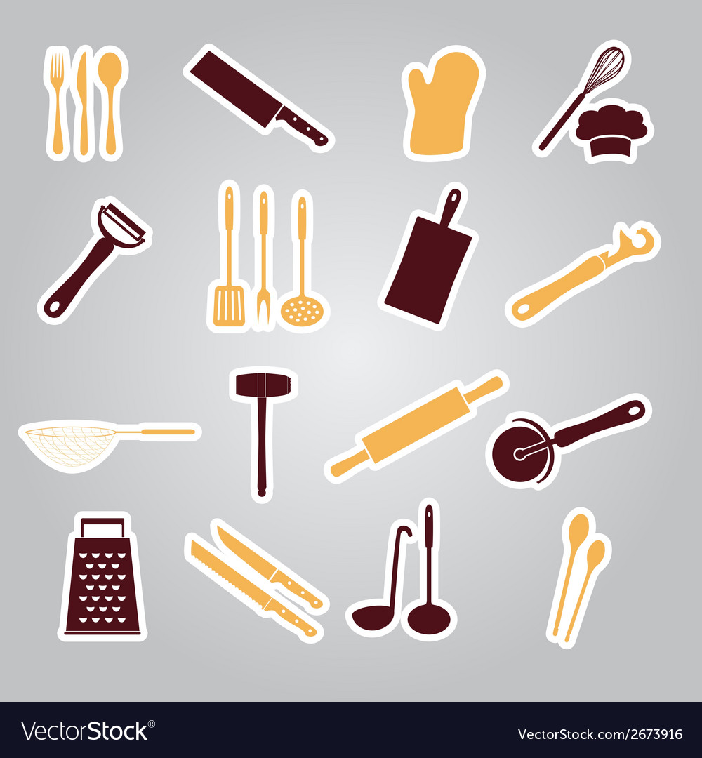 Home kitchen cooking utensils stickers eps10 vector | Price: 1 Credit (USD $1)