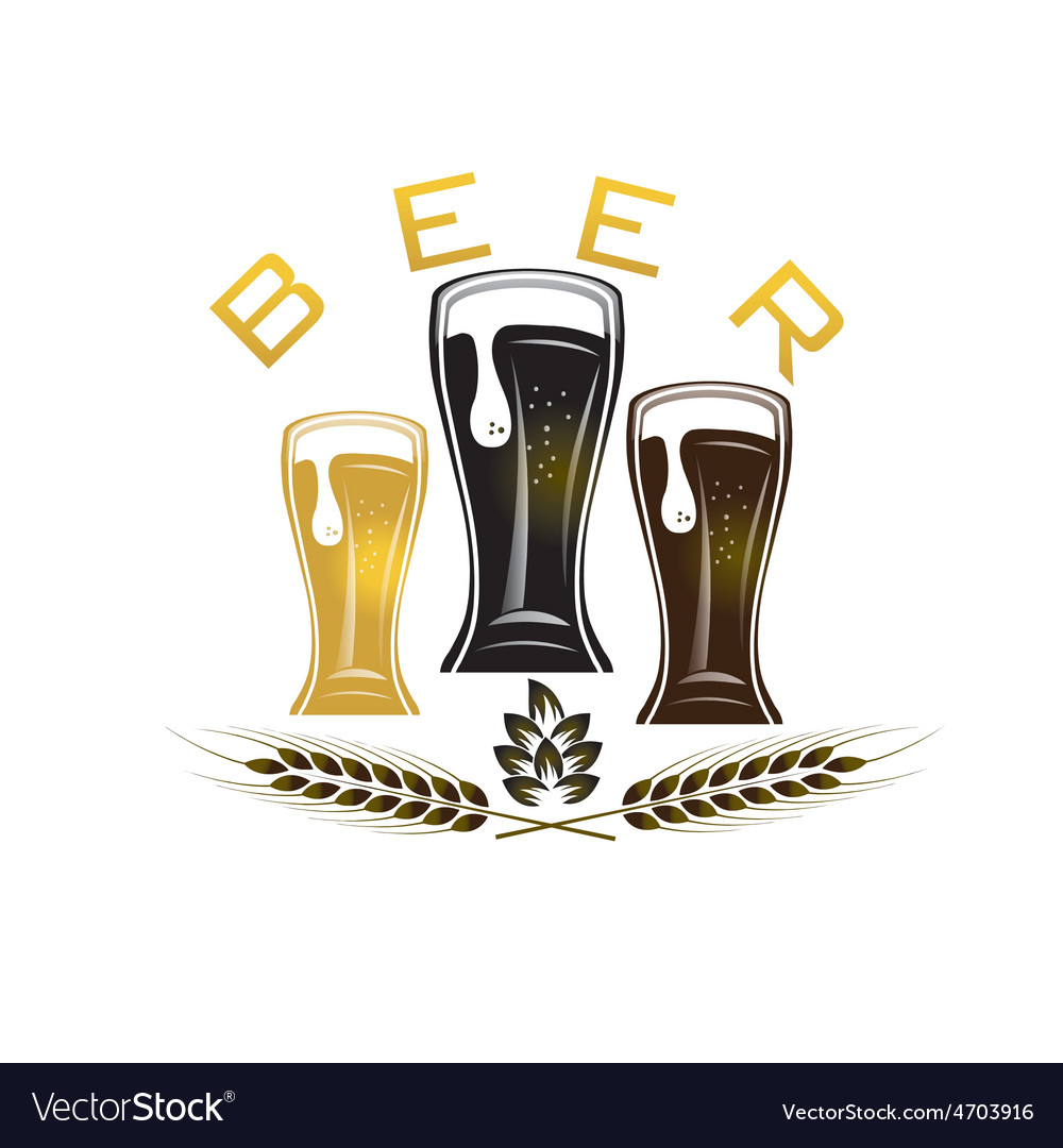 Iluustration of glasses with beer vector | Price: 1 Credit (USD $1)