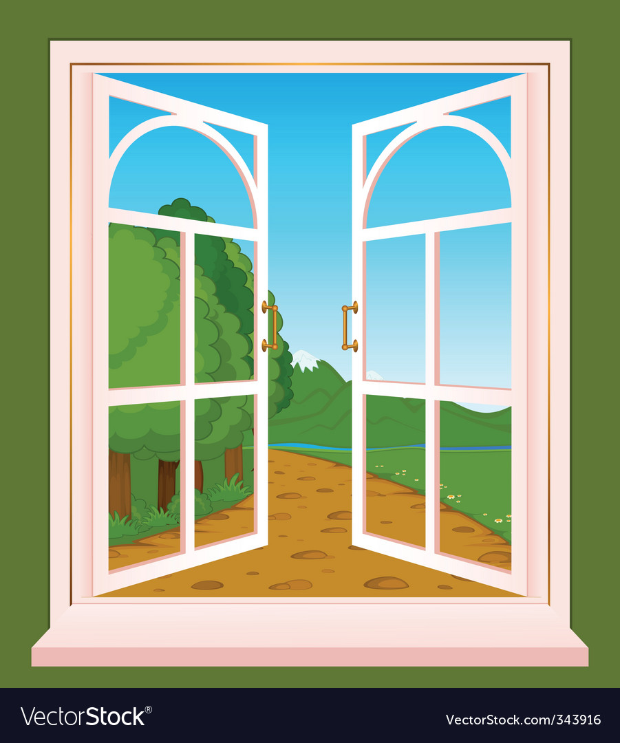 Landscape through window vector | Price: 1 Credit (USD $1)