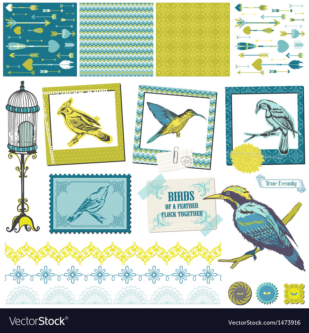 Scrapbook design elements - vintage birds set vector | Price: 1 Credit (USD $1)
