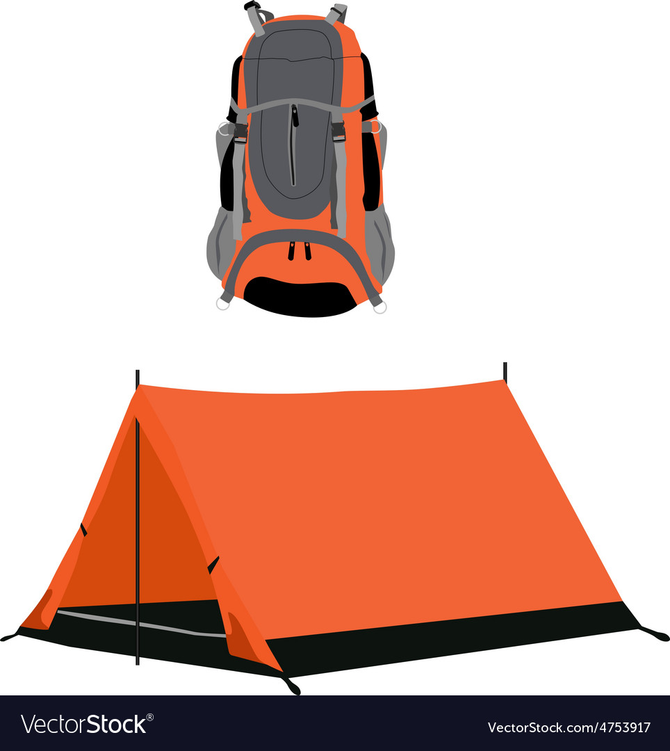 Campimg tent and backpack vector | Price: 1 Credit (USD $1)