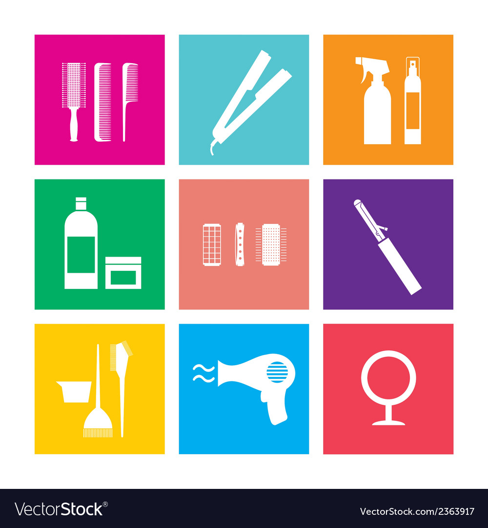 Flat design hairdressing icons set 9 vector   Price: 1 Credit (USD $1)