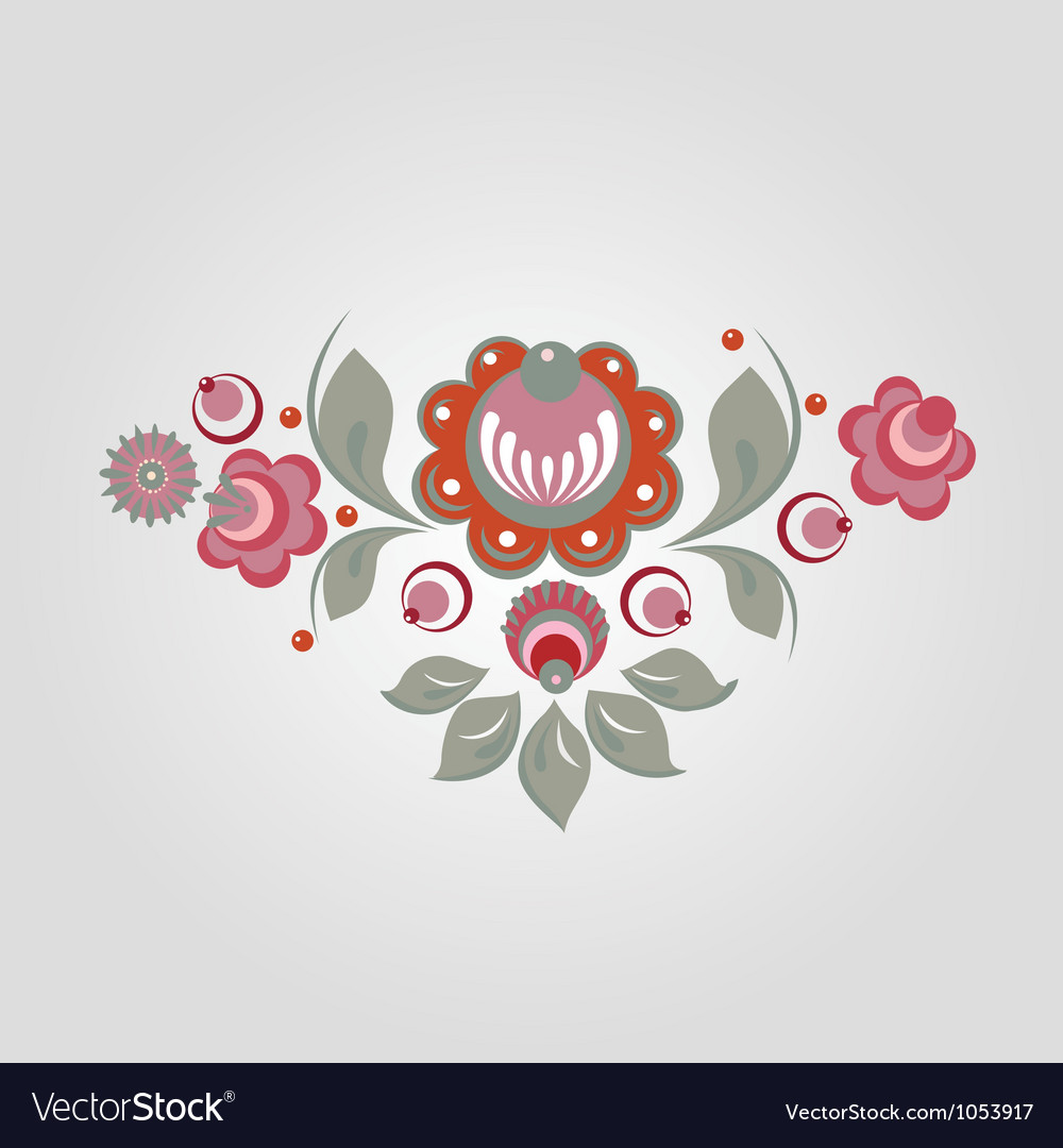 Floral russian style pattern vector | Price: 1 Credit (USD $1)