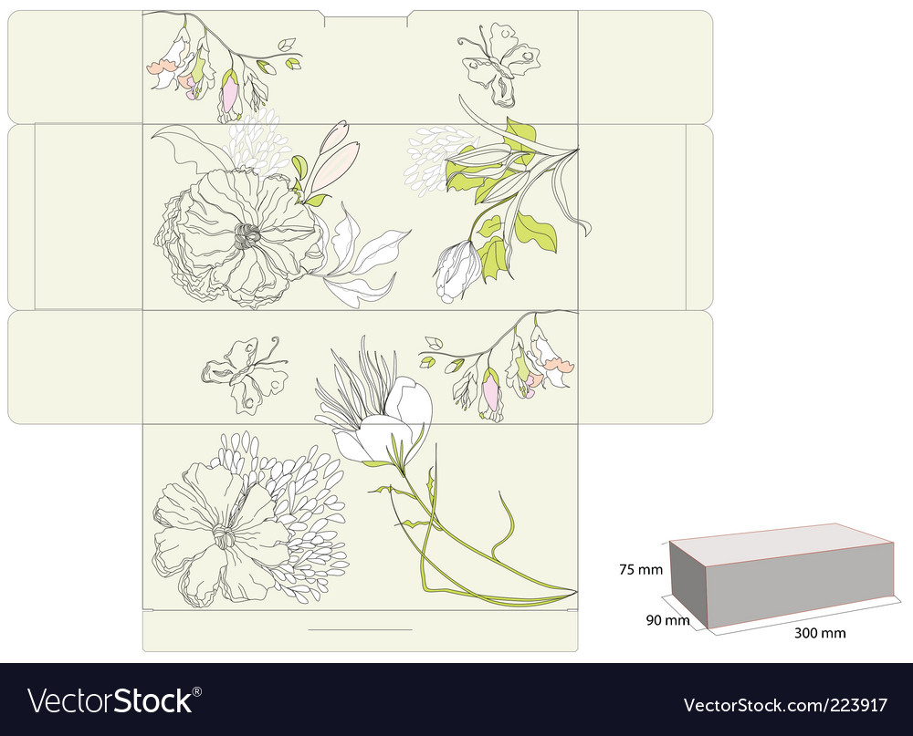 Gift box with flowers vector | Price: 1 Credit (USD $1)