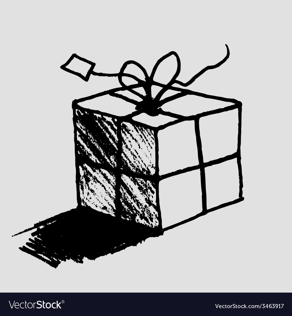 Hand drawn gift box with tag vector | Price: 1 Credit (USD $1)
