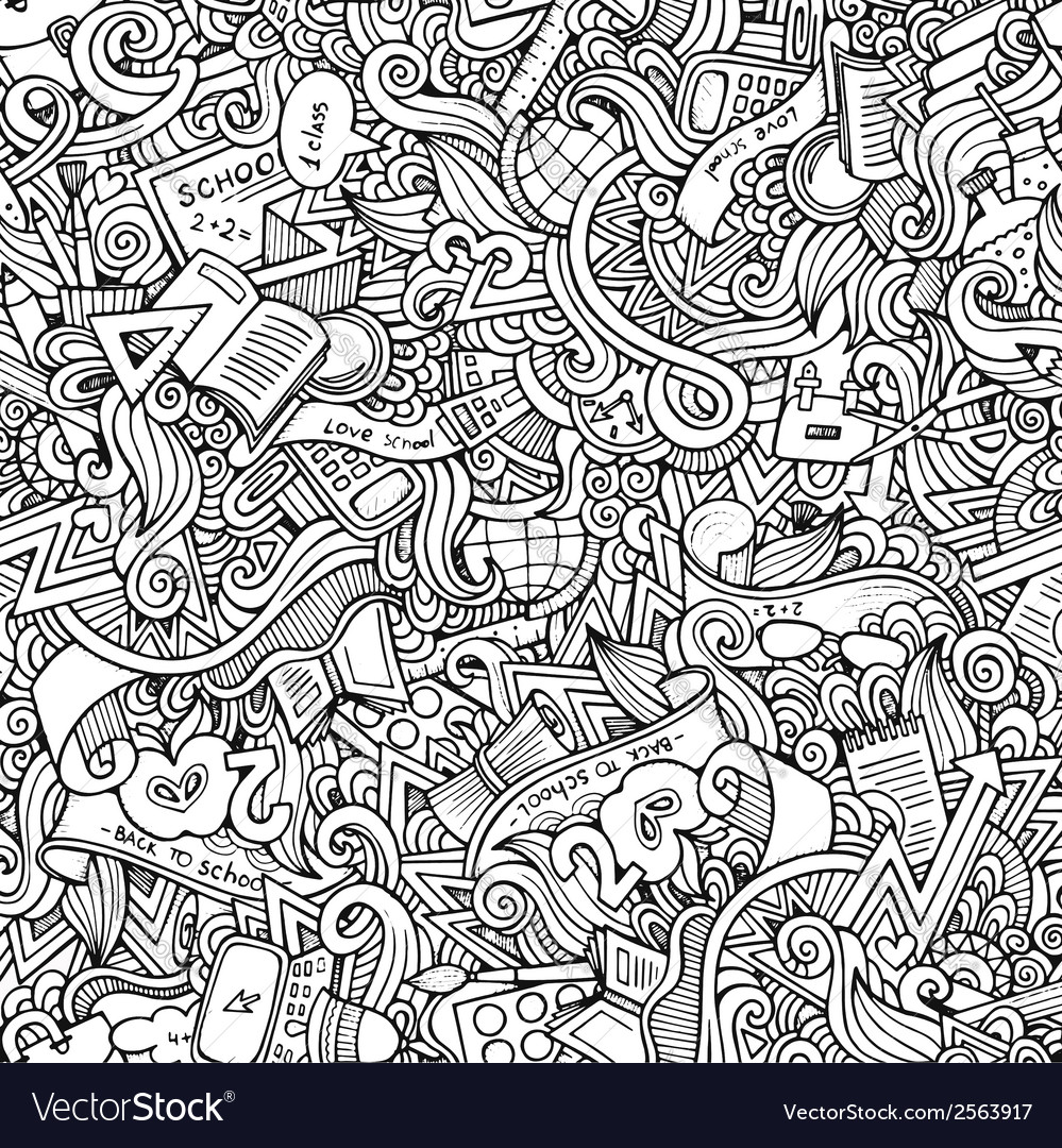 Hand drawn school seamless pattern vector | Price: 1 Credit (USD $1)