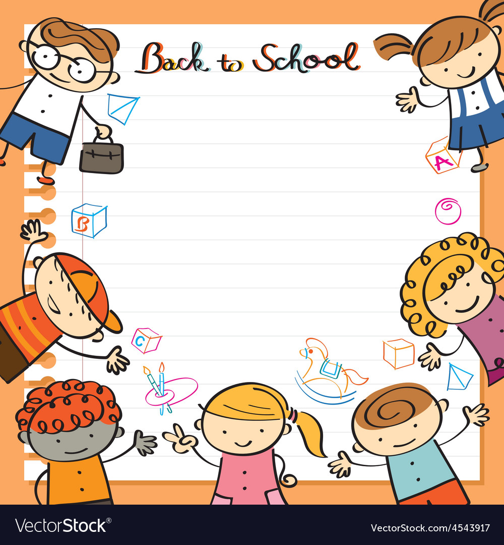Kids with paper background and toys frame vector | Price: 1 Credit (USD $1)