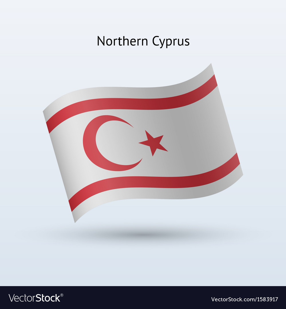 Northern cyprus flag waving form vector | Price: 1 Credit (USD $1)