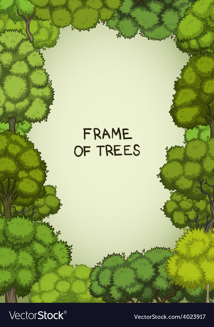 Vertical frame of the cartoon deciduous trees vector