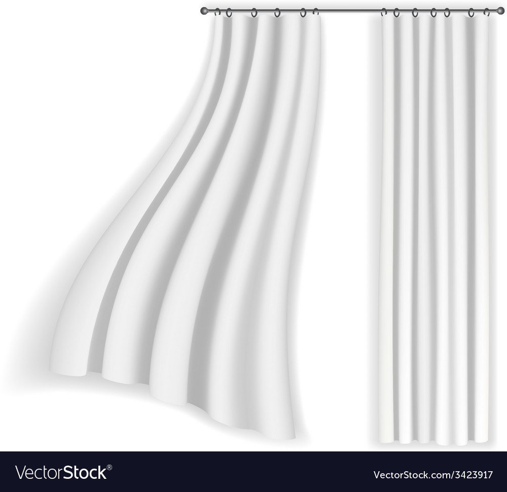 White curtains fluttering on a white background vector | Price: 1 Credit (USD $1)