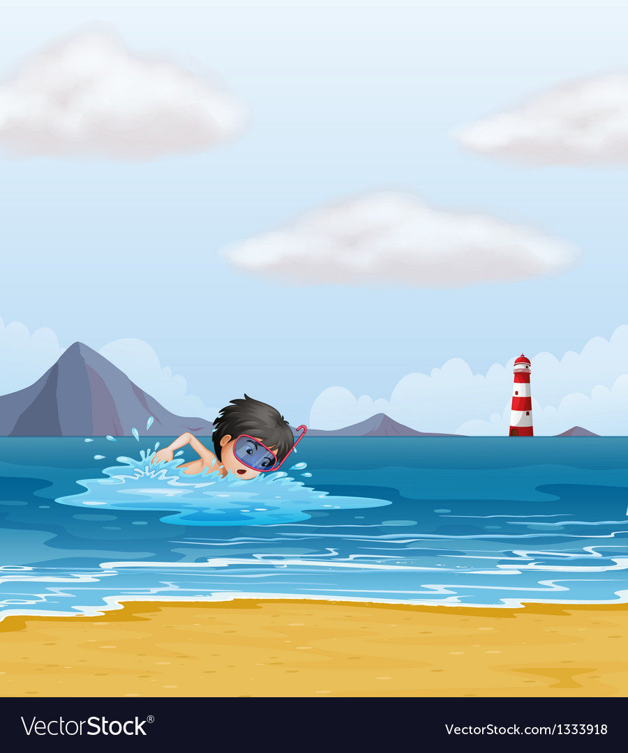 A boy swimming in the sea near the lighthouse vector | Price: 1 Credit (USD $1)