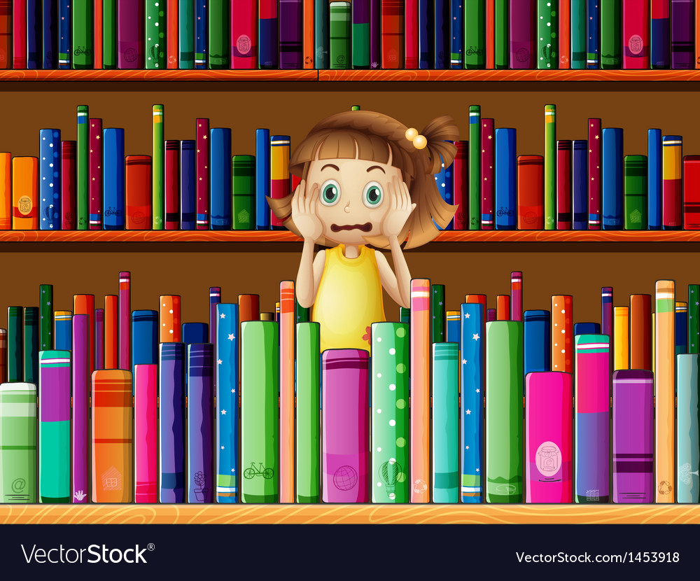 A scared little girl in the library vector | Price: 1 Credit (USD $1)