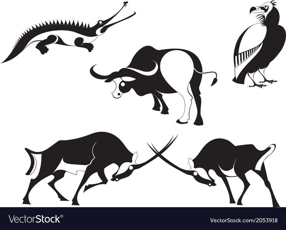 Art animal silhouettes vector | Price: 1 Credit (USD $1)