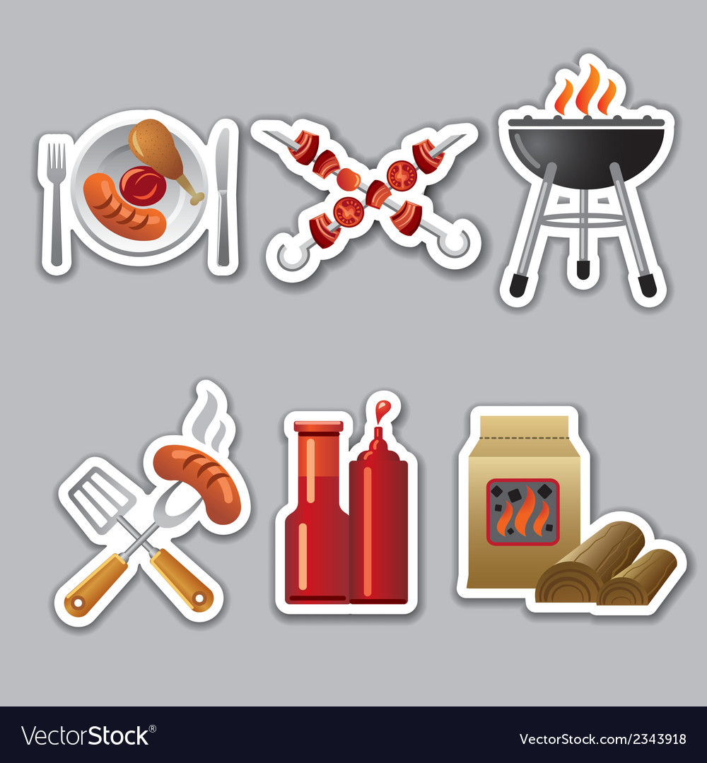Barbecue stickers vector | Price: 1 Credit (USD $1)