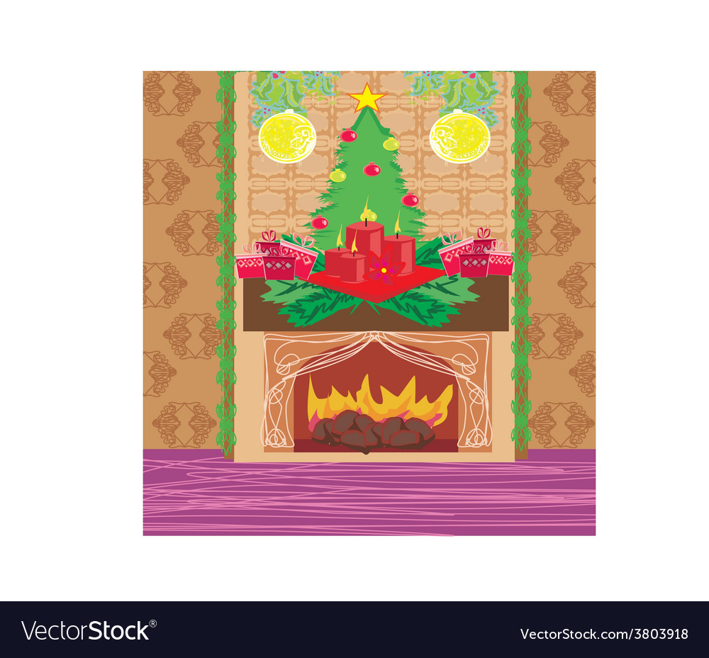 Christmas room with fireplace vector | Price: 1 Credit (USD $1)