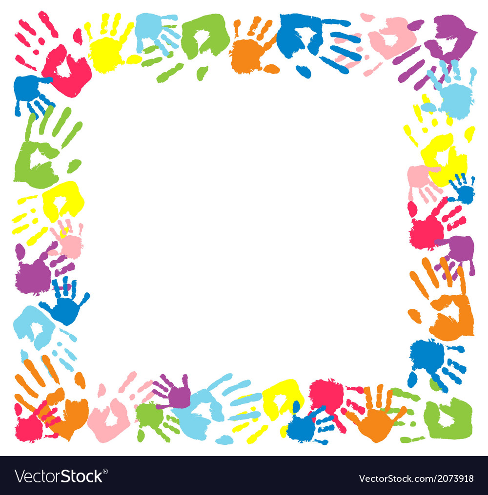 Frame made from color handprints vector | Price: 1 Credit (USD $1)