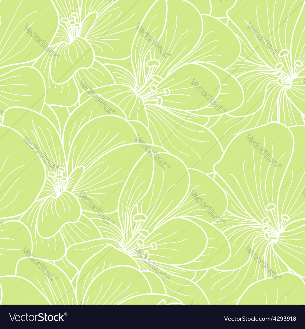 Green and white geranium flowers line drawing seam vector | Price: 1 Credit (USD $1)