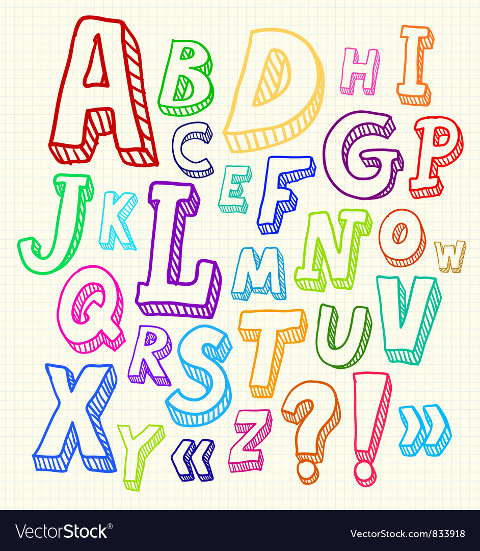 Hand drawn abc letters vector | Price: 1 Credit (USD $1)