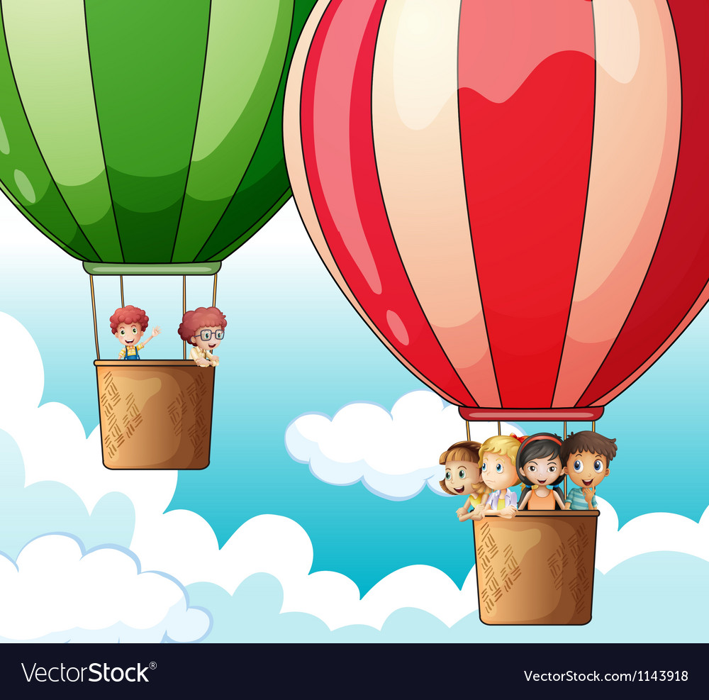 Hot air balloons flying vector | Price: 1 Credit (USD $1)