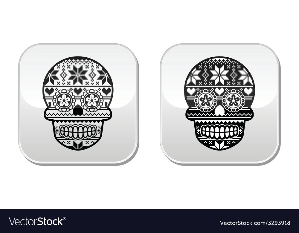 Mexican black sugar skull buttons with winter nord vector | Price: 1 Credit (USD $1)