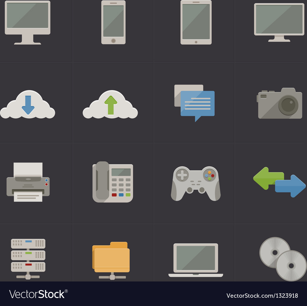 Tech and communication metro retro icons vector | Price: 1 Credit (USD $1)