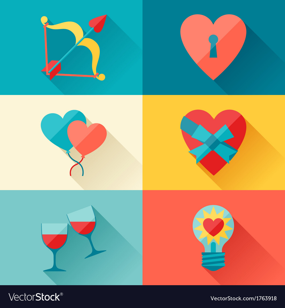 Valentines and wedding background in flat design vector | Price: 1 Credit (USD $1)