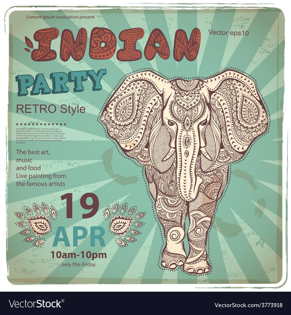 Vintage elephant vector | Price: 3 Credit (USD $3)