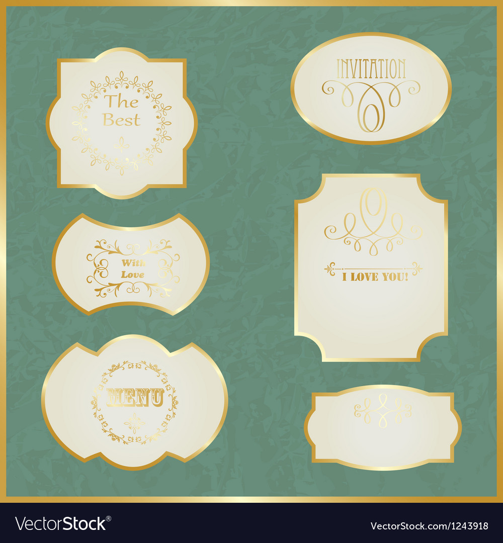Vintage labels with golden borders vector   Price: 1 Credit (USD $1)