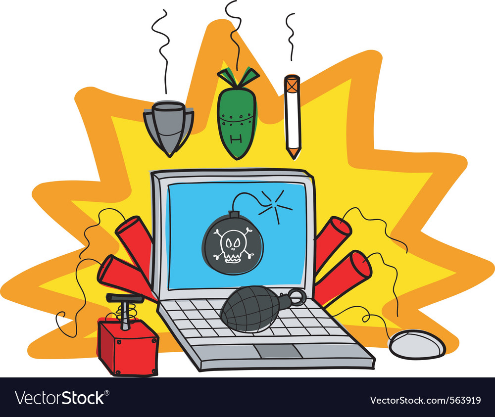 Bombs on computer vector | Price: 1 Credit (USD $1)