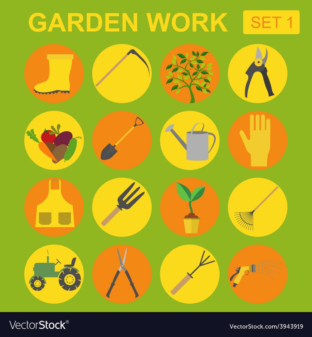 Garden work icon set working tools vector | Price: 1 Credit (USD $1)