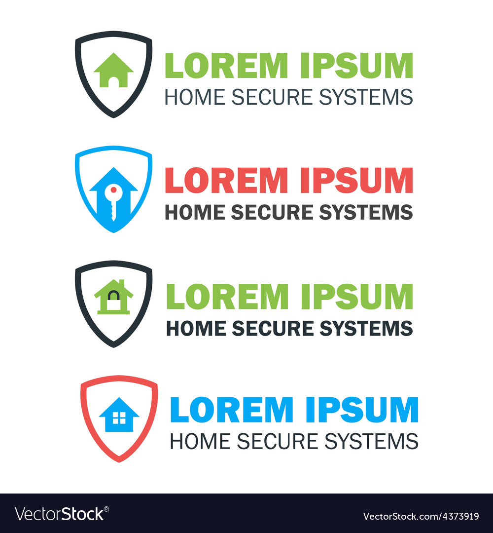 House with shield logo concepts set vector | Price: 1 Credit (USD $1)