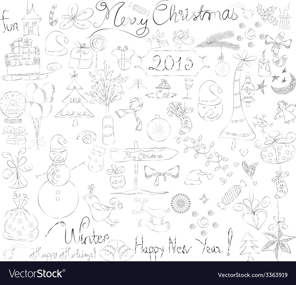 Merry christmas signs doodle collection vector | Price: 1 Credit (USD $1)