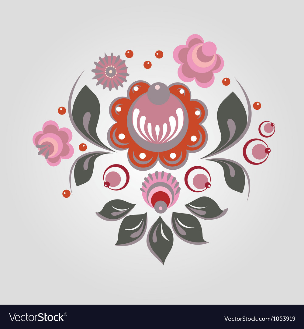 Russian gorodets style flowers and berryes vector | Price: 1 Credit (USD $1)